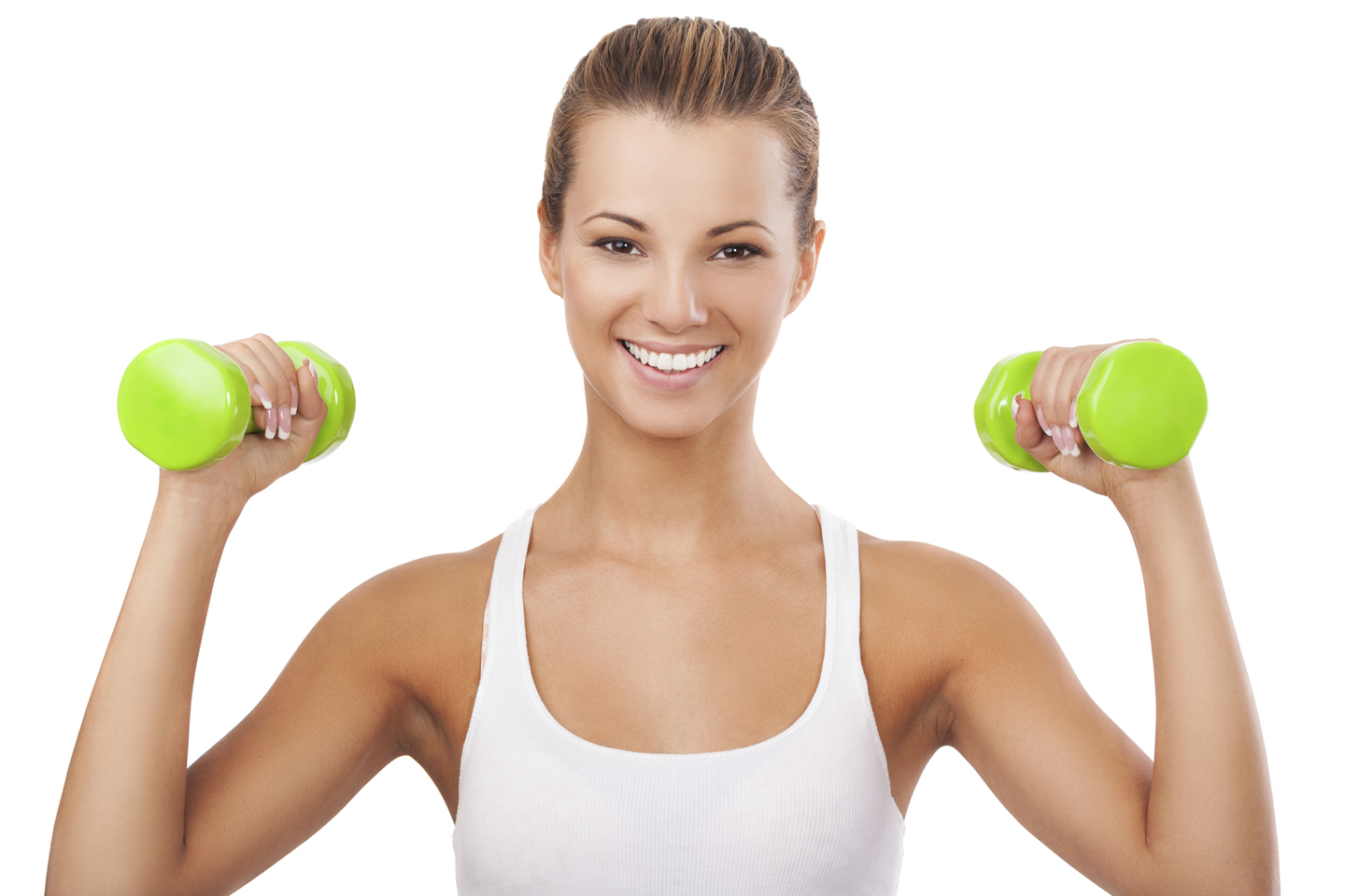Happy blonde woman exercising with weights 22968926XLarge